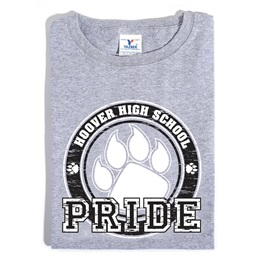 Custom Heather Gray T-shirt With Black Paw Pride Design