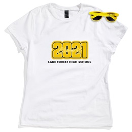 Women's White T-shirt and Sunglasses Set - Class of 2021