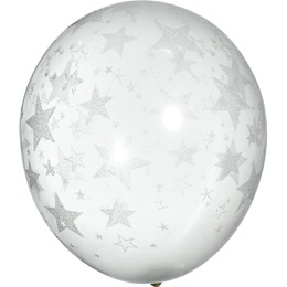 Silver Glitter Stars on Clear Balloon