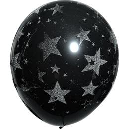Silver Glitter Stars on Black Latex Balloons