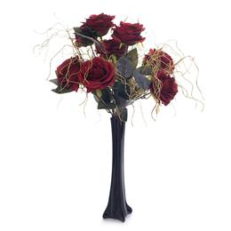 Floral Centerpiece Kit - Red Roses and Curly Willow With Black Vase