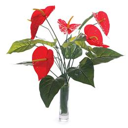 Floral Centerpiece Kit - Anthurium and Banana Leaves With Clear Vase