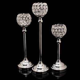 Silver Crystal Ball Candle Holder Set