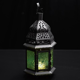 Hanging Moroccan Metal Lantern with Green Embossed Glass