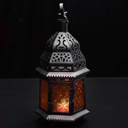 Hanging Moroccan Metal Lantern with Orange Embossed Glass