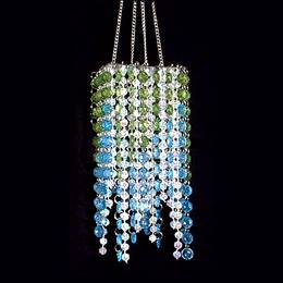 Square Stringed Chandelier - Blue/Green