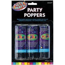 Confetti Poppers, 3/pkg