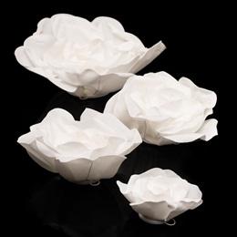 Set of 4 White Foam Roses