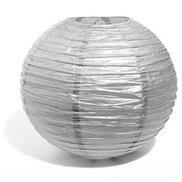 "14"" Round Paper Chinese Lantern - Silver"