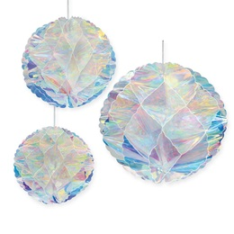 Iridescent Honeycomb Balls Set (set of 3)