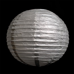 Silver Round Chinese Paper Lanterns - 12""