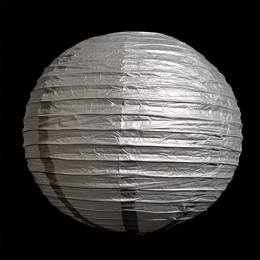 Silver Round Chinese Paper Lanterns - 16""