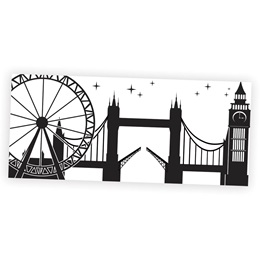 London Sightseeing Black and White Mural