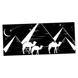 Egyptian Nights Black and White Mural