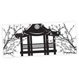 Asian Pagoda Black and White Mural