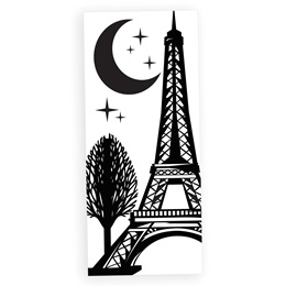 Eiffel Tower with Tree White and Black Mural