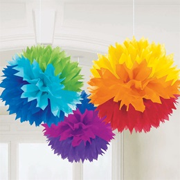 Rainbow Fluffy Tissue Paper Decorations