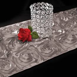 Satin Rosette Table Runner - Silver