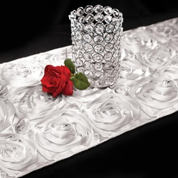 Satin Rosette Table Runner - White