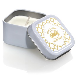 Square Candle Tin With Metallic Foil Label - Moroccan