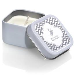 Square Candle Tin With Silver Metallic Foil Label - Chevrons