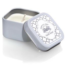 Square Candle Tin With Silver Metallic Foil Label - Moroccan