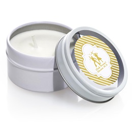 Round Candle Tin With Metallic Foil Label - Gold Stripes