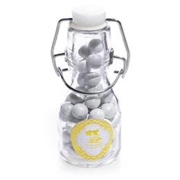Metallic Foil Mini Glass Bottles - Gold Chevron