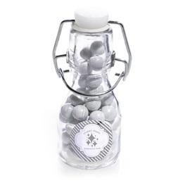 Metallic Foil Mini Glass Bottle - Silver Lines