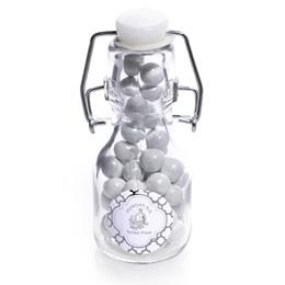 Metallic Foil Mini Glass Bottle - Silver Moroccan