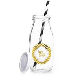 Metallic Foil Milk Bottles - Gold Chevrons