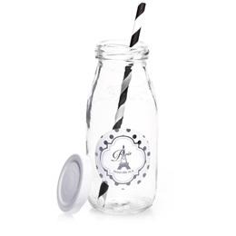 Mini Milk Bottle With Metallic Foil Label - Silver Dots