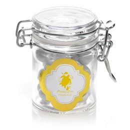 Metallic Foil Mini Glass Jar with Swing Top Lid - Gold Frame