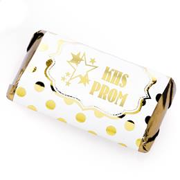 Metallic Foil Mini Candy Bar Wrappers - Gold Dots