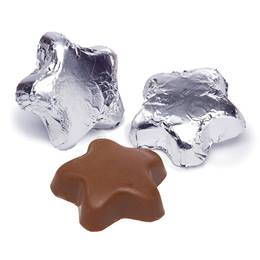 Foil-wrapped Milk Chocolate Stars - Silver