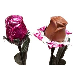Foil-wrapped Milk Chocolate Roses - Pink