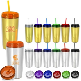 Full-color Metallic Tumbler With Lid and Straw