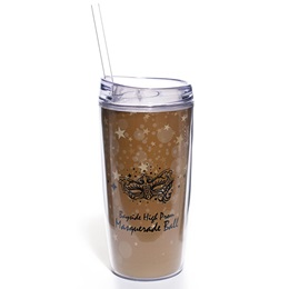 Full-color Tumbler With Lid and Straw - Gold Bubbles and Stars