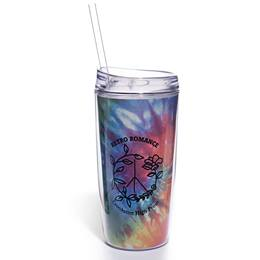 Full-color Tumbler With Lid and Straw - Rainbow Tie-dye