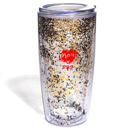 Black and Gold Star Glitter Tumbler
