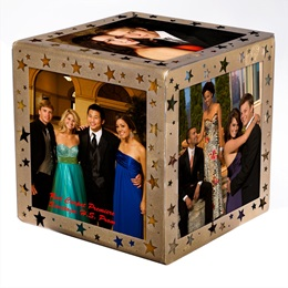 Gold Starlit Sparkle Photo Cube