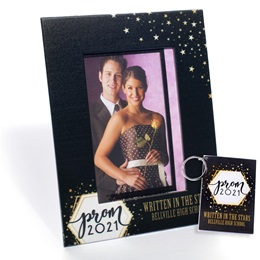 Full-color Frame and Key Chain Set - Golden Cosmos Prom