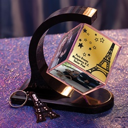 Paris Starlight Photo Cube/Eiffel Tower Key Chain Favor Set