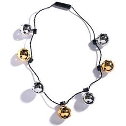 Light-up Gold and Silver Disco Ball Necklace