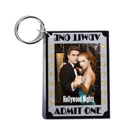 Admit One Glitter Photo Key Chain