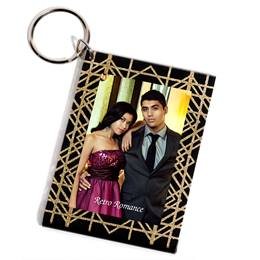 Golden Glitter Lines Photo Key Chain