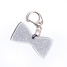 Silver Glitter Bow Tie Key Chain