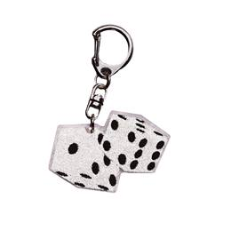 Silver Glitter Dice Key Chain