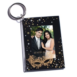 Stars, Moons, & Mask Photo Key Chain