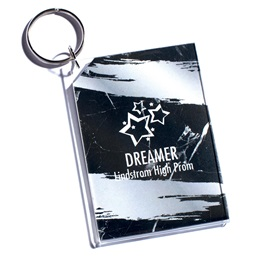 Full-color Rectangle Key Chain - Silver Marble Splash
